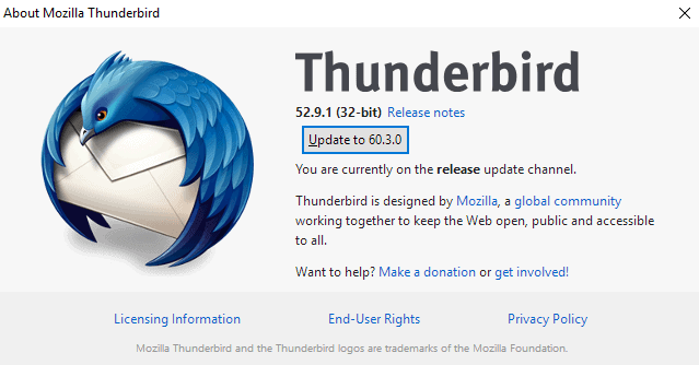 Thunderbird 52 to 60 update rollout started