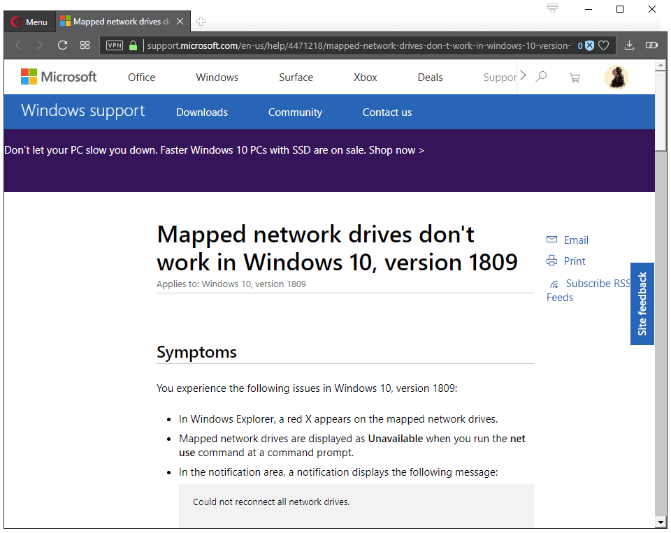 Mapped Network Drives issue in Windows 10 version 1809 - gHacks Tech