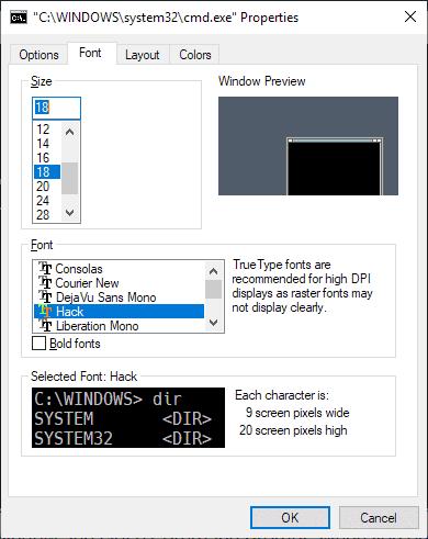 windows console font size