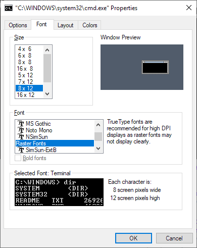 windows console font