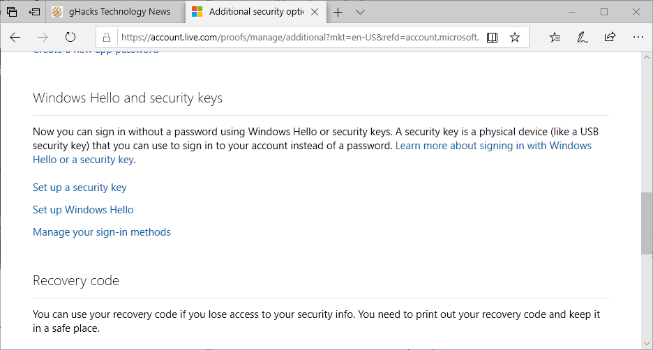 windows hello security keys sign-in setup