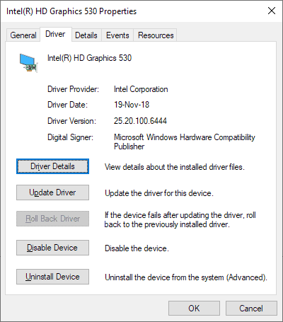 windows modern driver intel