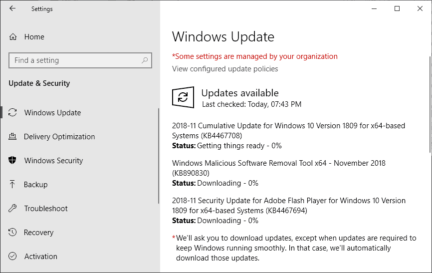 Microsoft Windows Security Updates November 2018 release overview