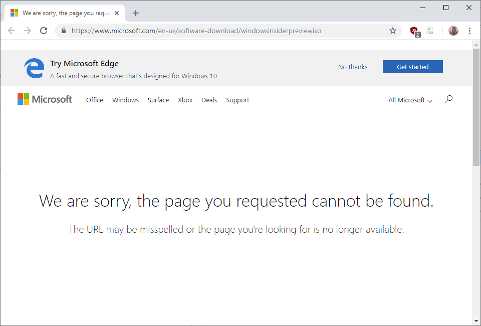 chrome sorry page requested