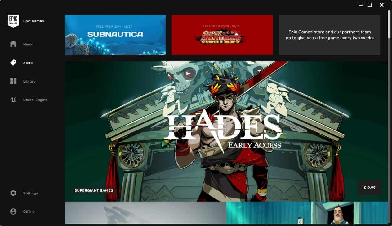 Epic Games Store launches with handful of games
