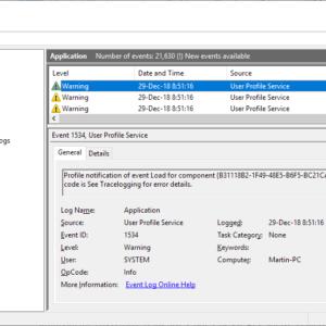event log error user profile service