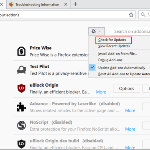 firefox check for add-on updates