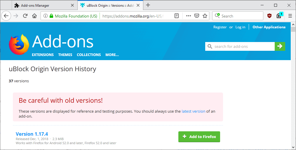 firefox update extensions manually