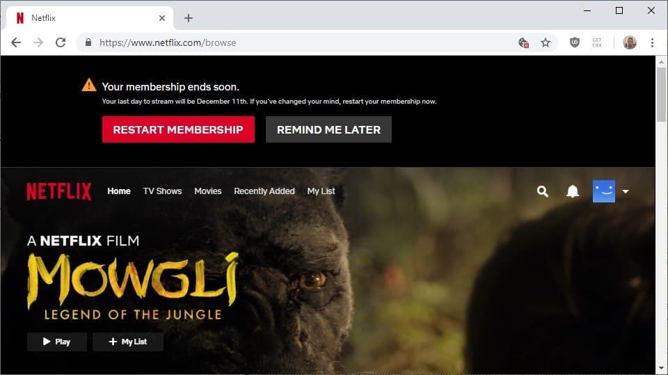 netflix membership end