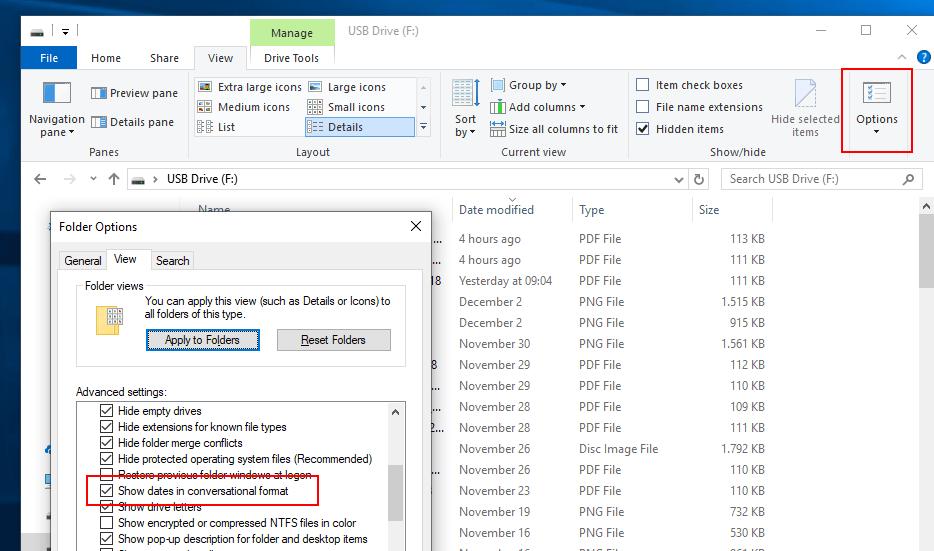 options file explorer conversational format