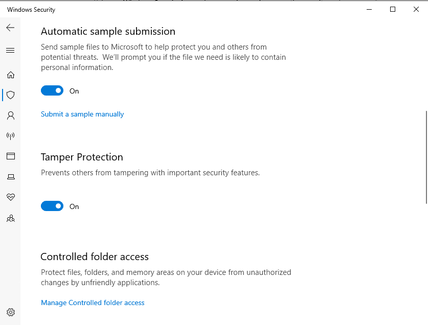 Windows Defender Tamper Protection