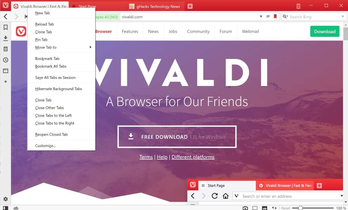 Vivaldi 2.2 released: navigation and customization improvements