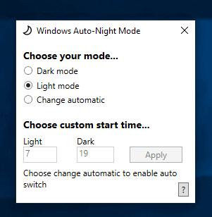 windows 10 auto-night mode