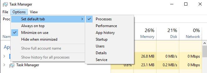 windows 10 task manager default tab