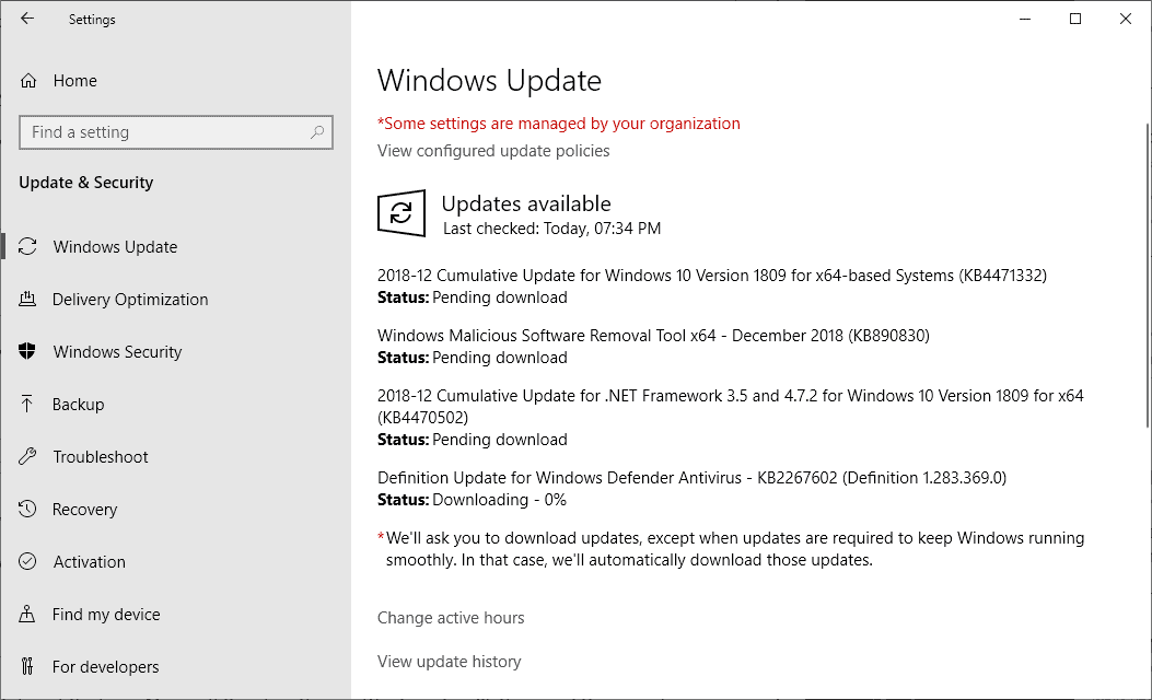Microsoft Windows Security Updates December 2018 release overview
