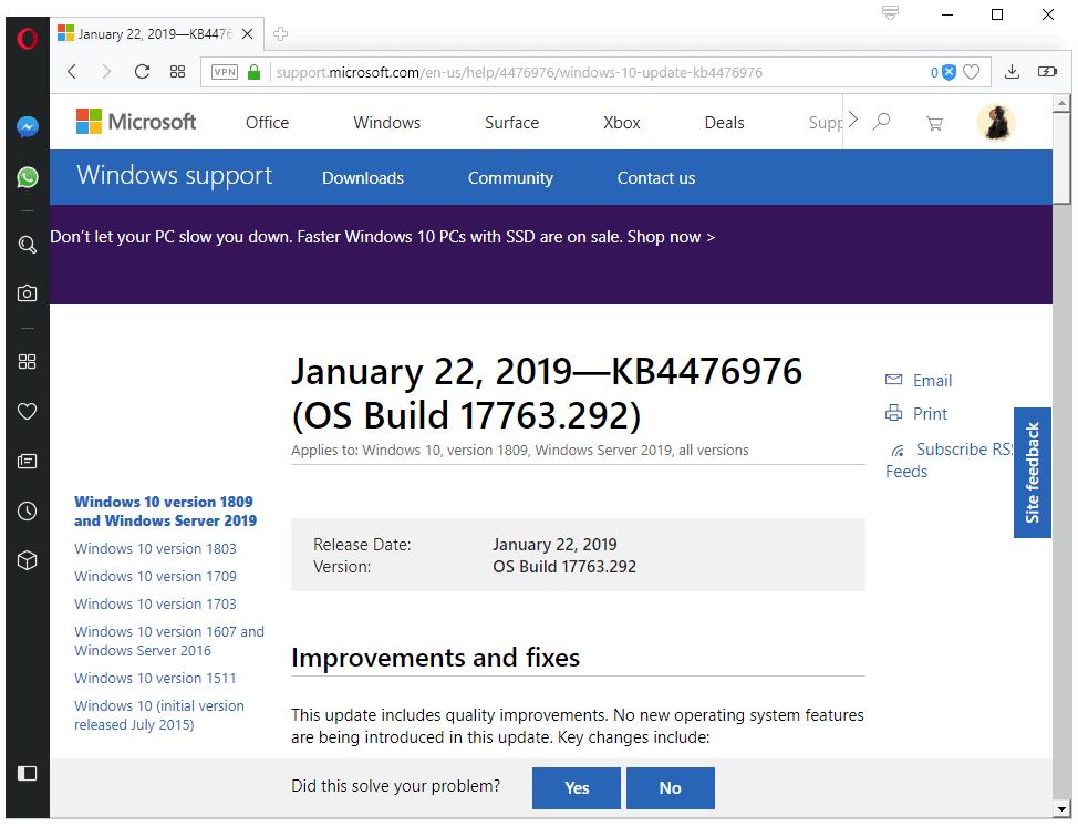 KB4476976 windows 10 version 1809