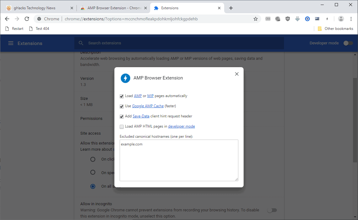 amp browser options