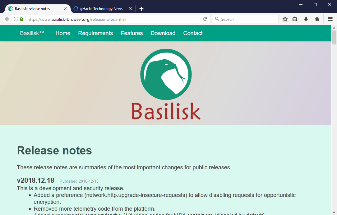 Basilisk browser drops WebExtension support