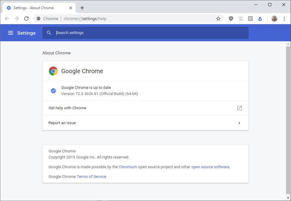 Google Chrome 72 Stable is out