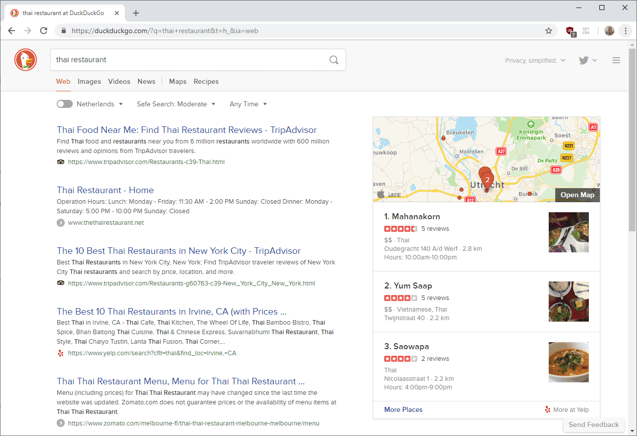 DuckDuckGo Search switches mapping to Apple Maps