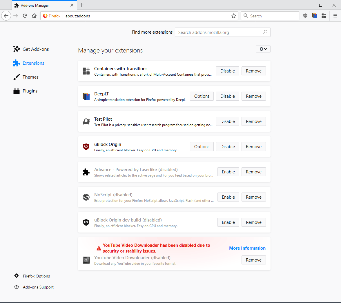 Find Manager how to compact the firefox add-ons manager - ghacks tech news