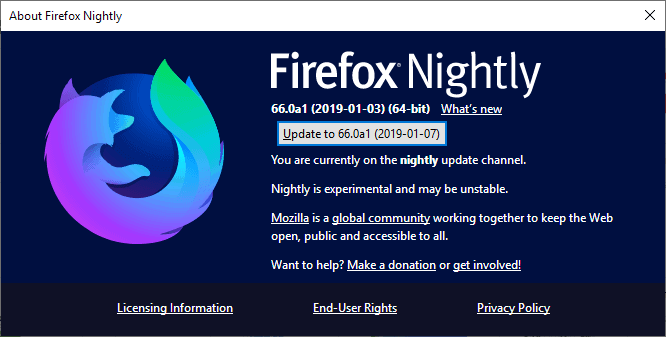 firefox nightly update broken