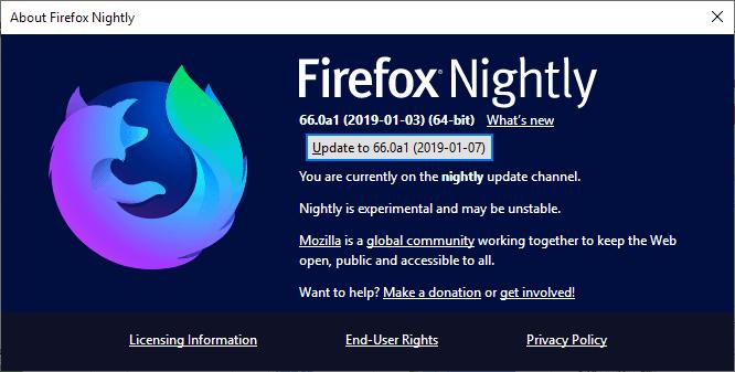firefox nightly update broken