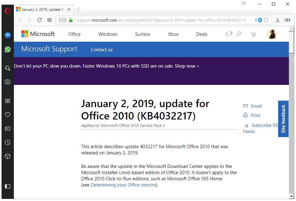 office 2010 updates january 2019