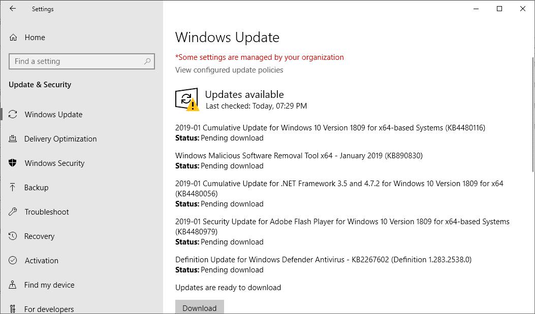 windows updates january 2019