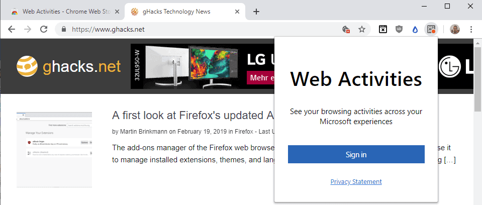 chrome web activities microsoft extension