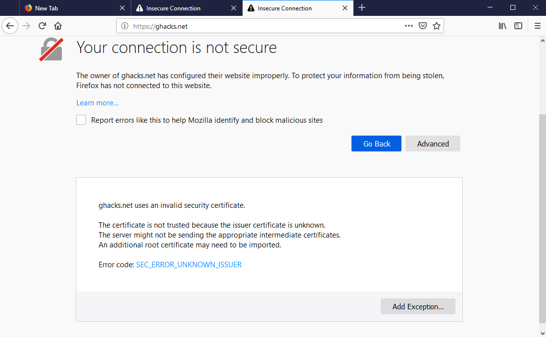 connection not secure firefox