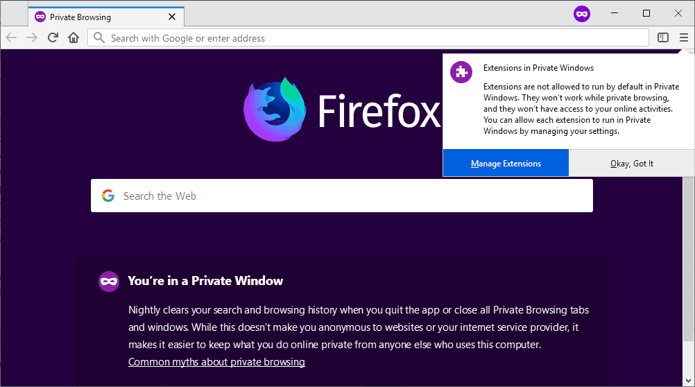 Firefox will soon disallow extensions in private mode by