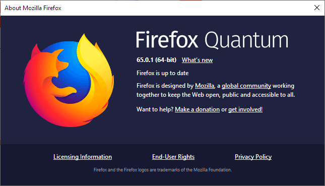 Here is what is new in Firefox 65.0.1
