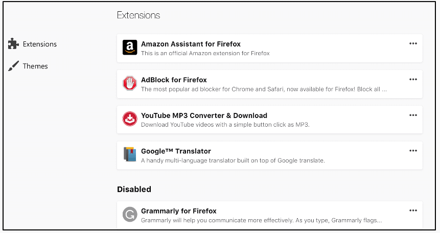 firefox addons manager mockup