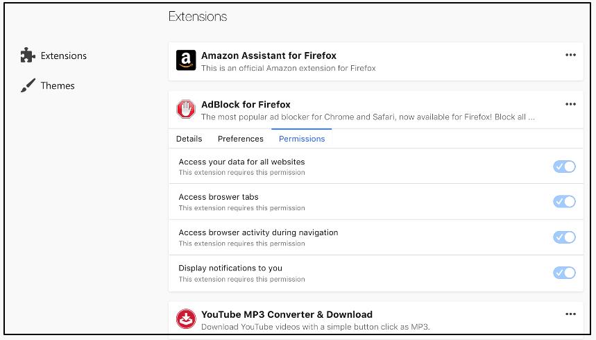firefox addons permissions