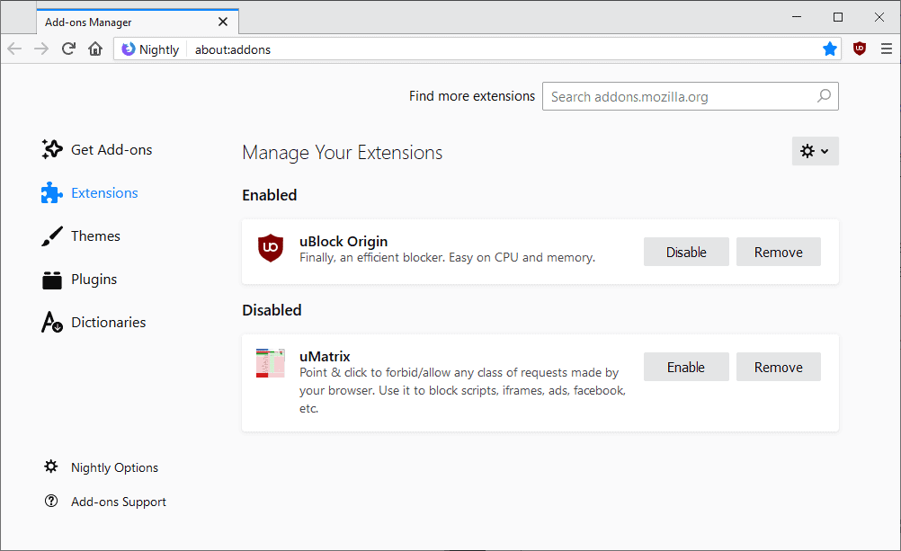 firefox new addons manager