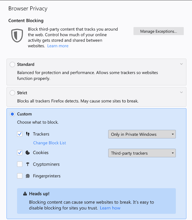 firefox privacy options