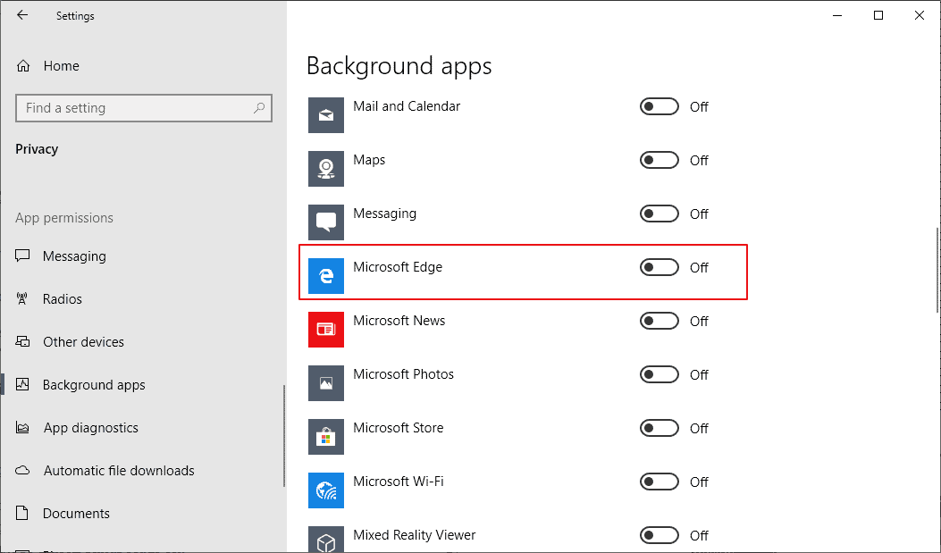 Block Microsoft Edge from running in the background on Windows 10