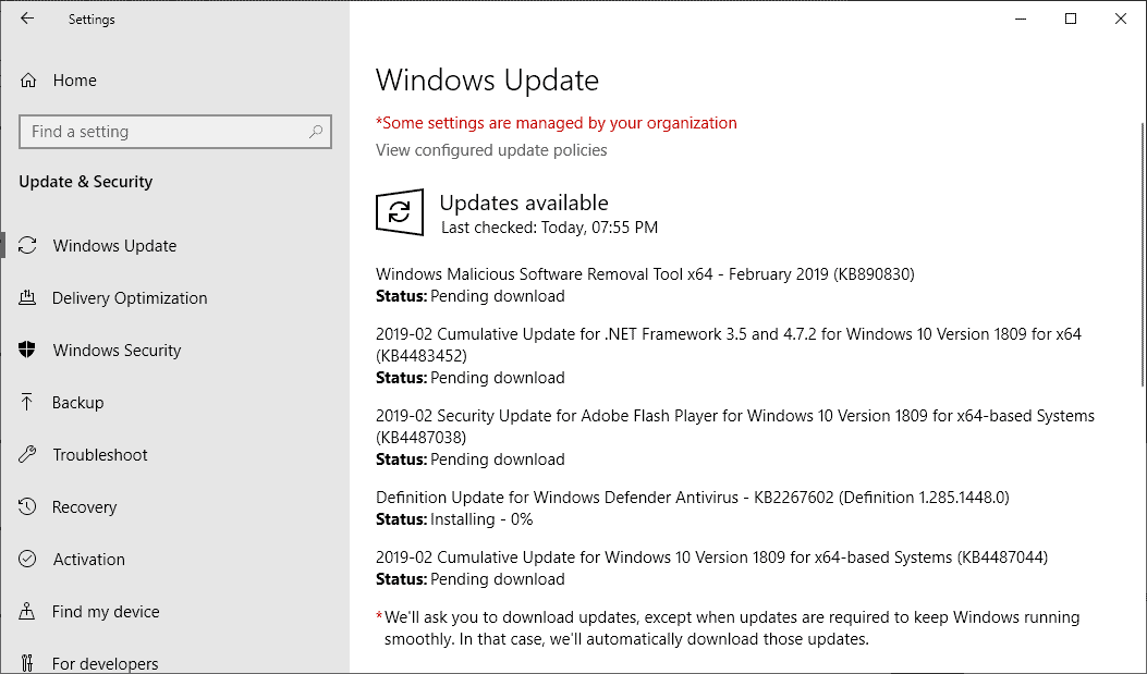 Microsoft Windows Security Updates February 2019 overview