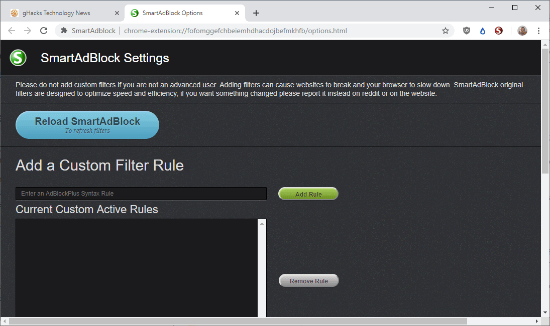 SmartAdblock updated: memory optimizations and custom filter support