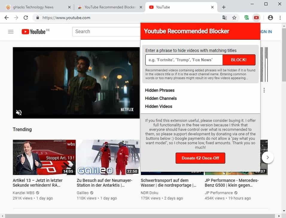youtube recommended blocker