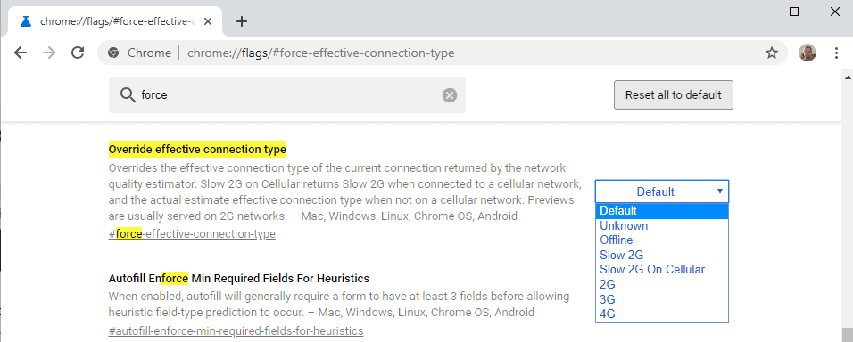 chrome override connection type