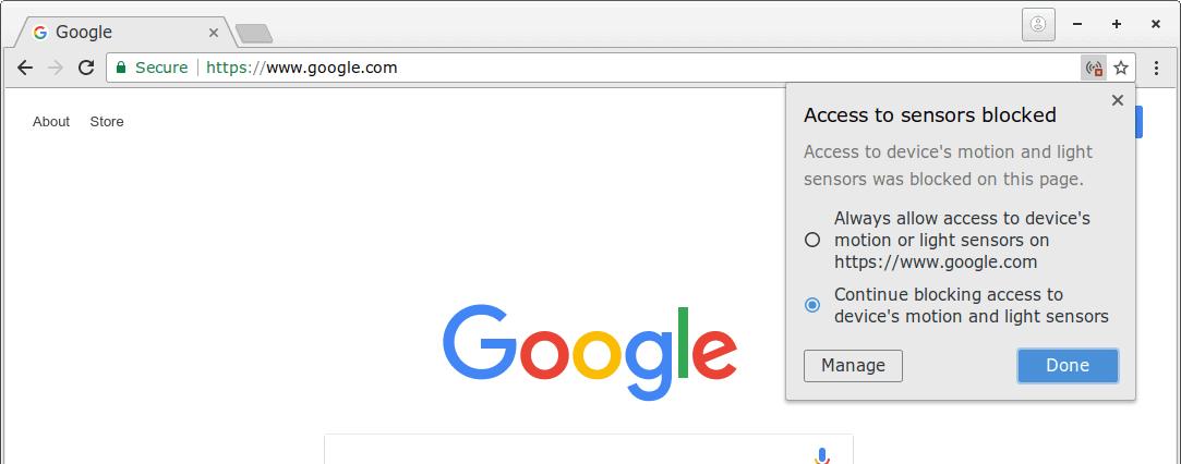 chrome sensor access blocked