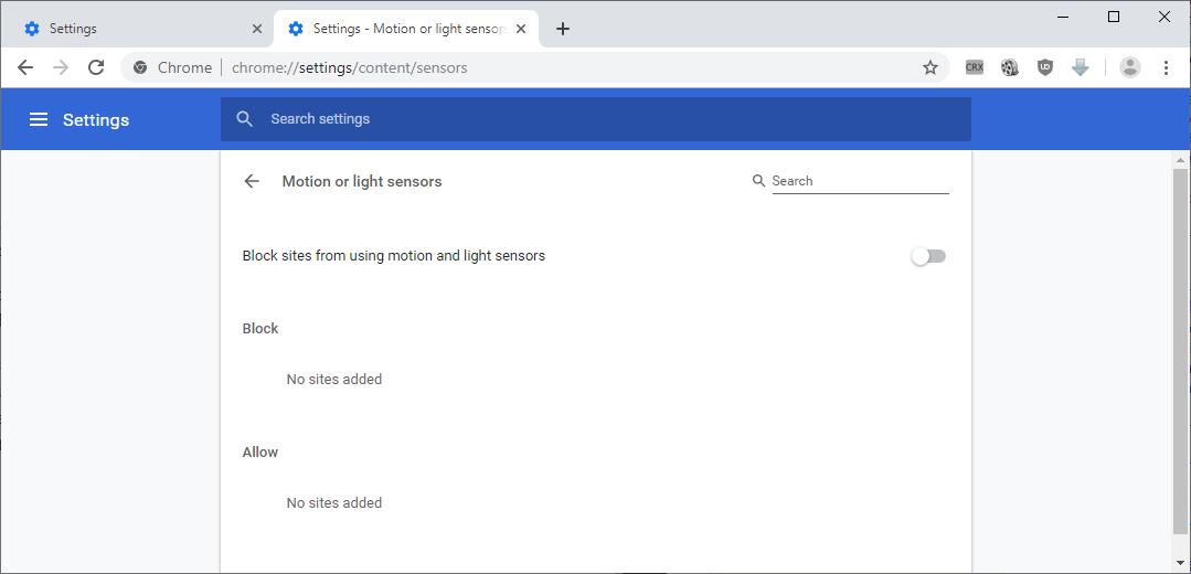 chrome settings sensors
