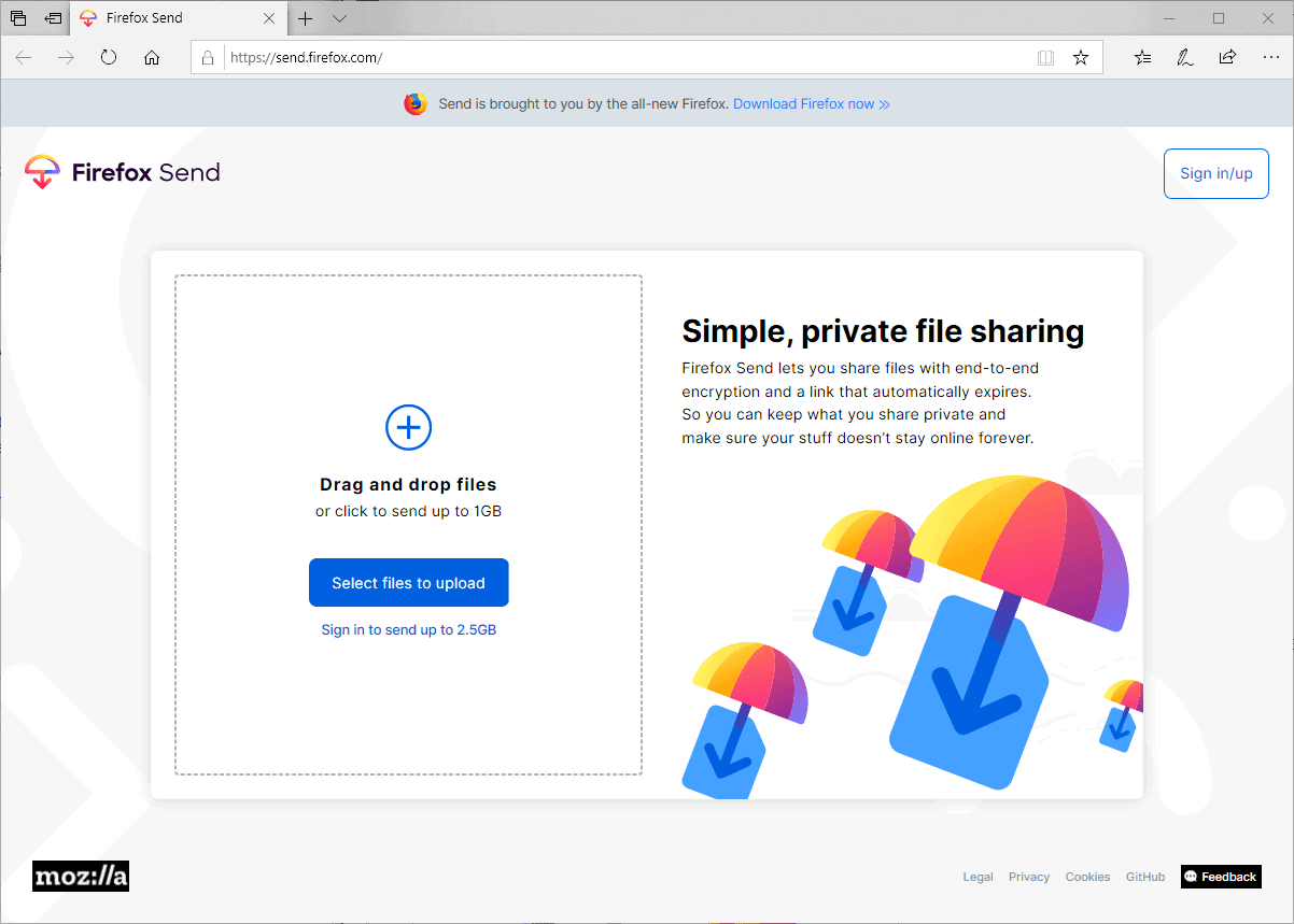Firefox Send file sharing service launches officially