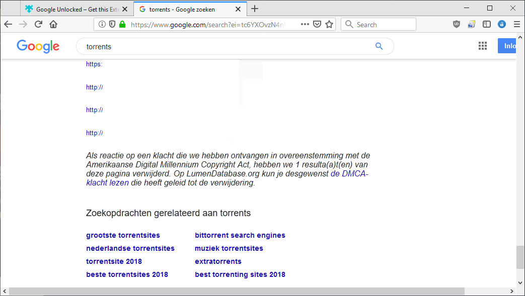 google search dmca results