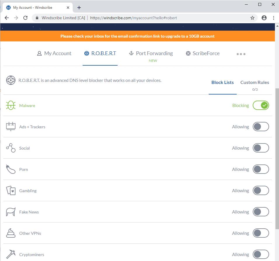 A look at Windscribe VPN'S R O B E R T domain blocking tool - gHacks