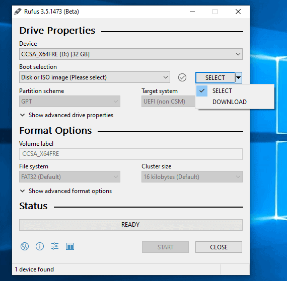 make a windows 10 bootable usb using rufus