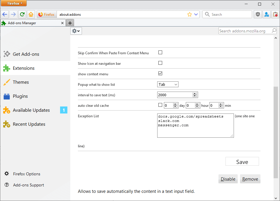 textarea cache options