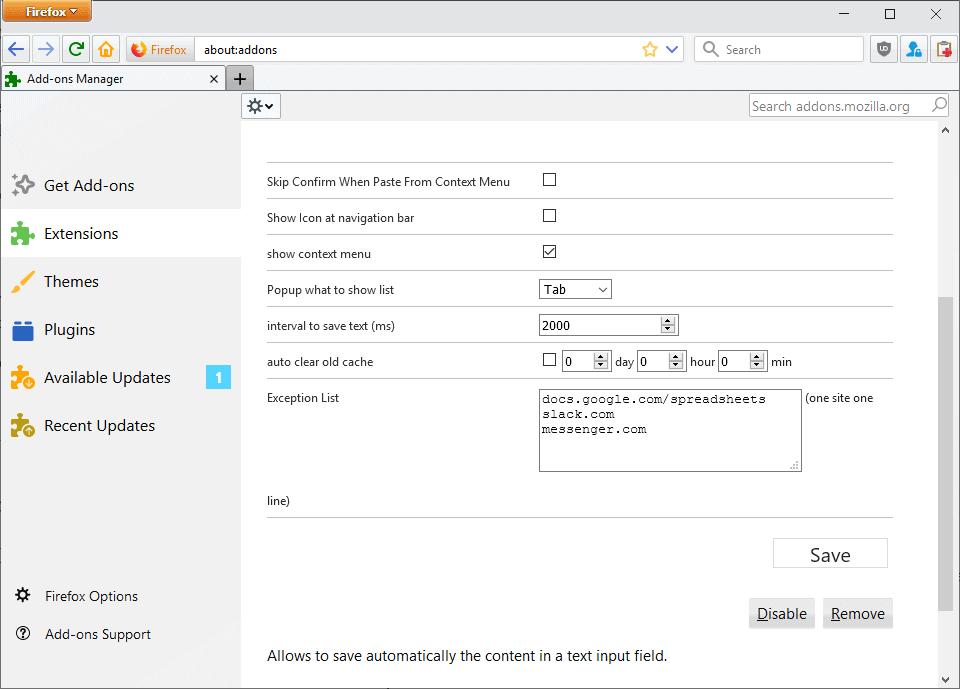textarea cache options
